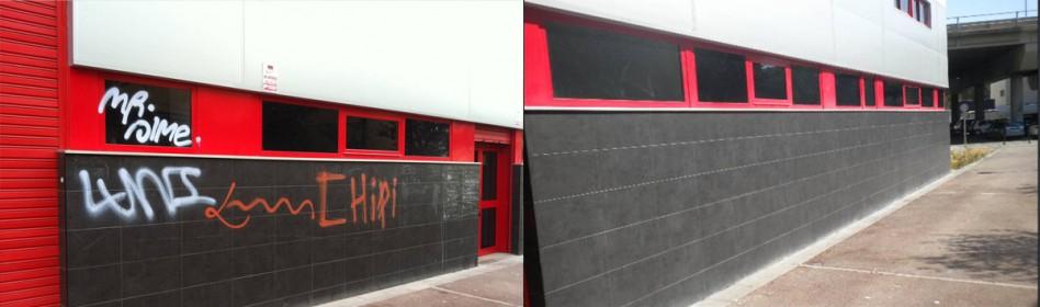 Cruz Roja - Limpieza de Graffiti con producto REMOVER YELLOW