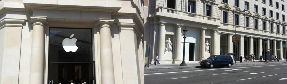 APPLE STORE - En la piedra arenisca de los paramentos exteriores del edificio APPLE STORE, se aplicó PERFORMANCE