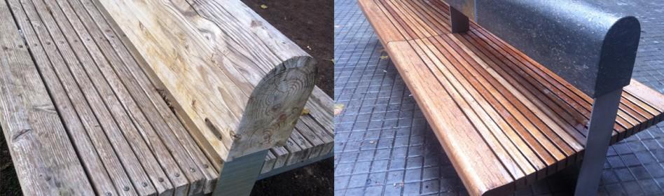 Ayuntamiento Barcelona - (Plaza de Lesseps) Se aplicó  WOOD PROTECT  tratamiento para proteger superficies nobles, como mobiliario de madera.