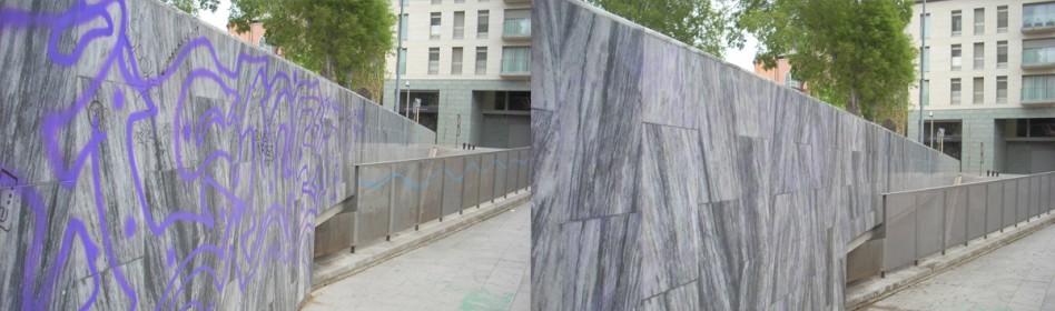 Ayuntamiento Granollers - Se retiró graffiti sobre muro de mármol con REMOVER LIGHT