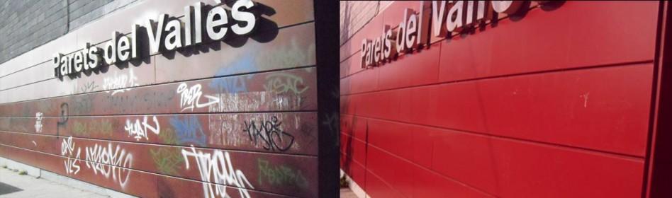 Ayuntamiento Parets del Vallés - Eliminaron de graffitis en superficies exteriores de Polideportivo con REMOVER LIGHT