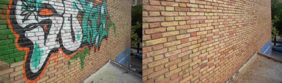 AYUNTAMIENTO DE SABADELL - Se retiró graffiti sobre obra vista en paramento exterior del C.P. Miquel Hernandez con REMOVER RED