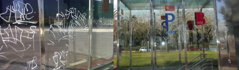 BARCELONA SERVEI MUNICIPALS - Se aplicó lámina antivandálica para devolver al cristal su aspecto habitual y protegerlo de futuras agresiones
